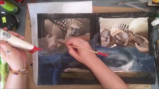 Reversed Collage Part 2,  Working inside A Book, Mixed media  Expressive Art