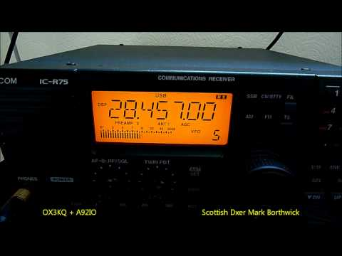 Ham Radio 10m DXing VU2PAI WV4X OX3KQ A92IO Received In Scotland Icom R75 - Kaz Antenna