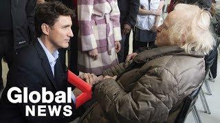 Justin Trudeau visits flood evacuees in Quebec