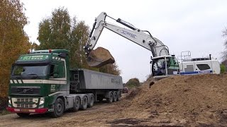 New Liebherr R956 Excavator Loading Volvo Semitrucks