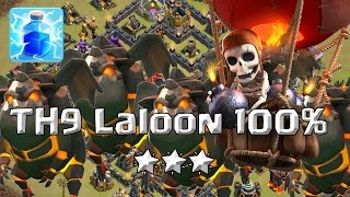 TH9 Pentalaloon 🌟🌟🌟 100% Rayos y Terremoto | Clash of Clans