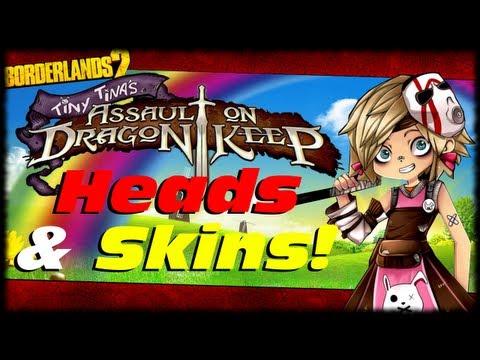 Borderlands 2 Tiny Tina Assault On Dragon's Keep Heads & Skins Character Customizations!