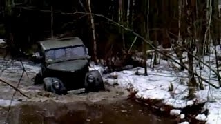 Russian car VAZ-2121 Niva and old time car GAZ-69 runs off-road