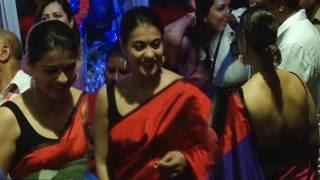 Hot Kajol in Backless Blouse at Durga Pooja 2016