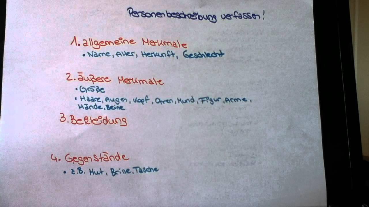 Personenbeschreibung verfassen  Deutsch  Texte schreiben