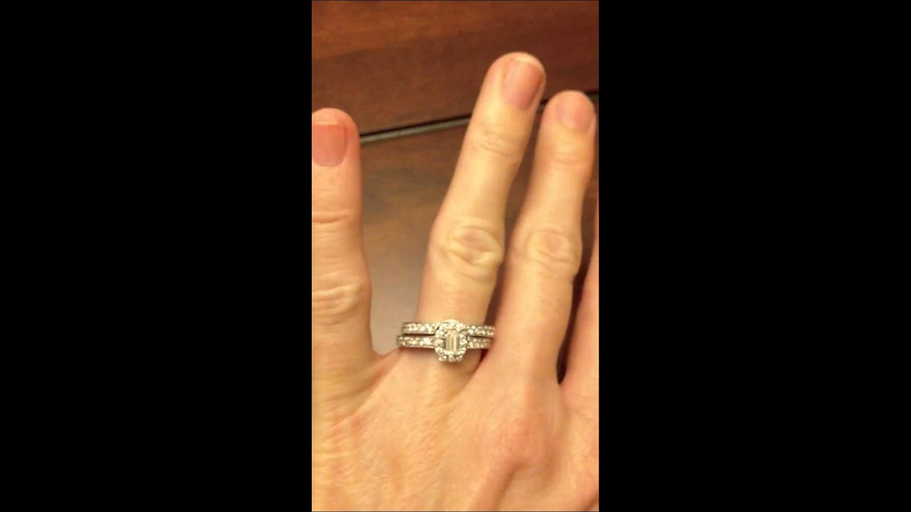 JARED CERTIFIED Emerald Cut Halo Diamond Vintage Style 14K ...