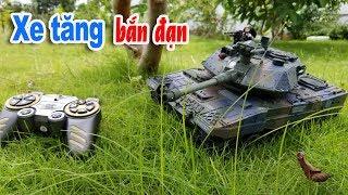 Xe tăng chiến đấu Điều khiển từ xa - Bắn đạn nhựa rất mạnh, có ống xả khói...