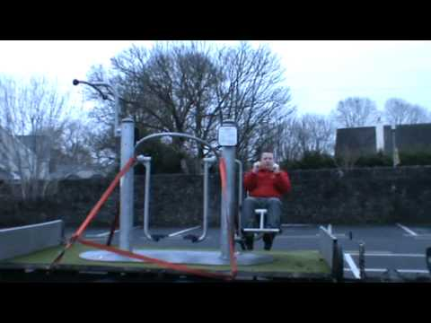 Demonstration of the very latest in outdoor adult exercise equipment from Go ...
