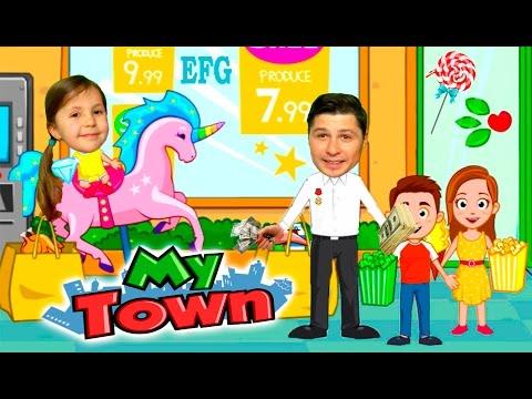 Дети в магазине сладостей наелись конфетами ПАПА в ШОКЕ Funny Family in MY TOWN kids children