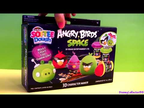 Softee Dough Angry Birds Space 3d Character Maker Playset Lazer Bird, Super Red Bird Space Pig video