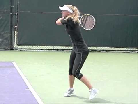Caroline Wozniacki Slow Motion Forehand and Backhand