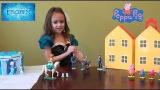 Peppa Pig in Elsa's Castle: Disney Frozen Castle, Disney Frozen Toys: Elsa, Anna, Peppa Pig Toy Set