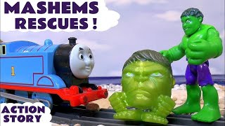 Thomas and Friends help Avengers Hulk & Iron Man in Mashems Robbery vs Ultron Fun Surprise Opening