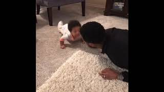 Baby Video Gone Viral! Daddy Daughter Push Ups.