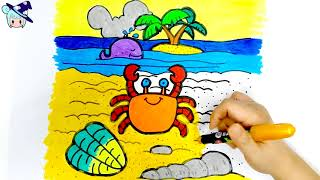 [Toy Witches] #37 Let's Learn How To Coloring With Crab and Seahorse For Kids | ART