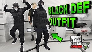 GTA 5 Run and Gun Modded Outfit Tutorial BLACK DEF! GTA Online Clothing 1.40 (GTA 5 Glitches)