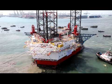 Launching of Offshore Jackup Rig For the first time to the sea