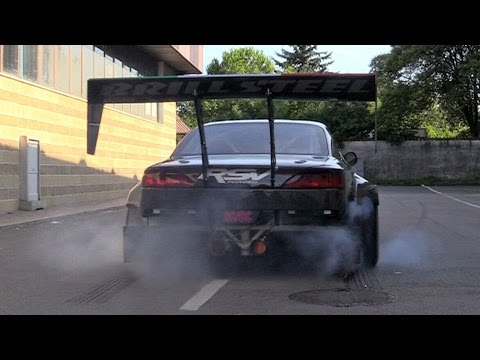 Brill Steel' 720hp V8 Carbon Nissan S14.5 Start Up & Burnout