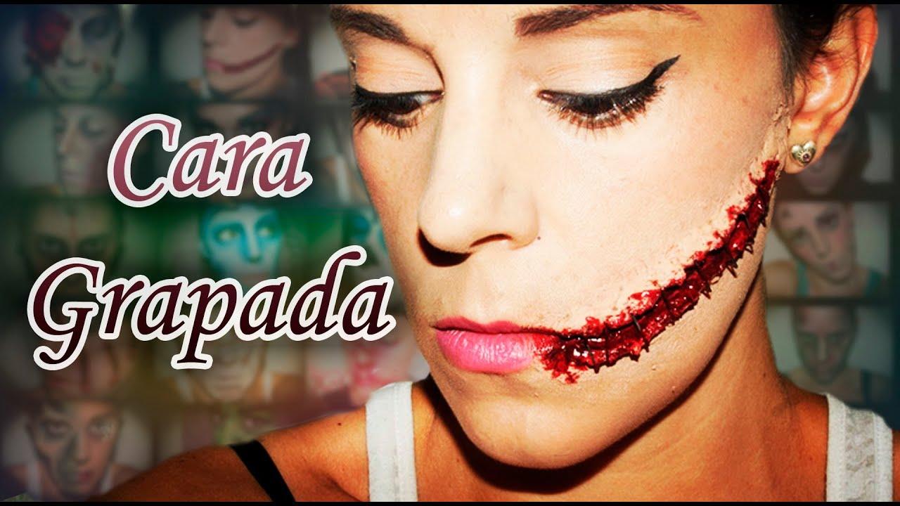 Maquillaje halloween cara grapada efectos especiales fx - Pintura cara halloween ...