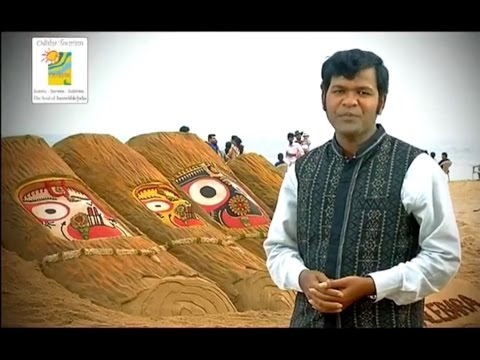 Odisha Tourism ad with Padma Shri Sudarsan Pattnaik on Nabakalebara