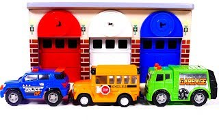 Learn Colors with Garage Parking Playset and Toy Vehicles for Children