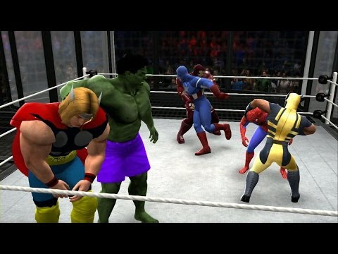 WWE 2K14 - Spiderman vs Hulk vs Thor vs Iron Man vs Wolverine vs Captain America (Marvel Brawl)