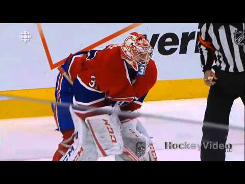 Carey Price gets a skate in the face and brings his tooth to the bench . May 3, 2013