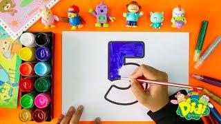 Cara Mewarnai Nombor 1-10 untuk Anak-Anak Kecil | Didi & Friends Indonesia