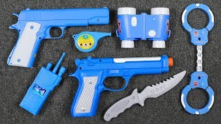 Colored Guns Toys Police set Video for kids! Box of Toys with Police Squad Action Military Equipment