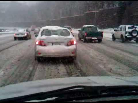 Driving around the Washington DC beltway durning a pretty bad snow storm