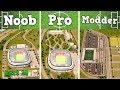 Noob VS Pro VS Modder - Building a Football Stadium in Cities: Skylines
