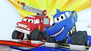 Monster trucks for children - WINTER - Snowboard Rescue - Monster Town