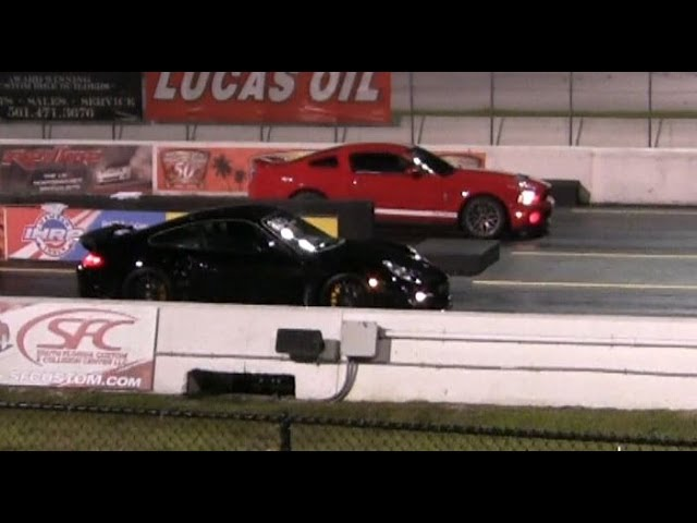 Ford Mustang GT500 Vs Porsche 911 Turbo Drag Race