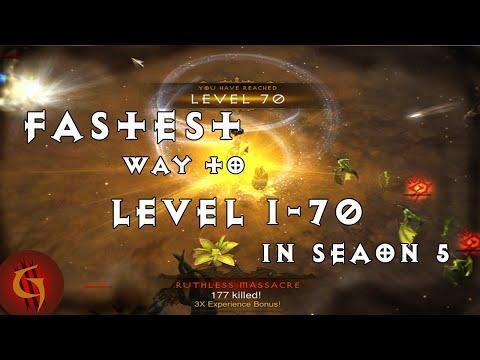 Diablo 3 2.4 Fastest Way to Level 1-70 in Season 5