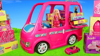 Barbie Dolls: Camper Ride On & Hello Dreamhouse Dollhouse Doll Kitchen | Surprise Toys Play for Kids