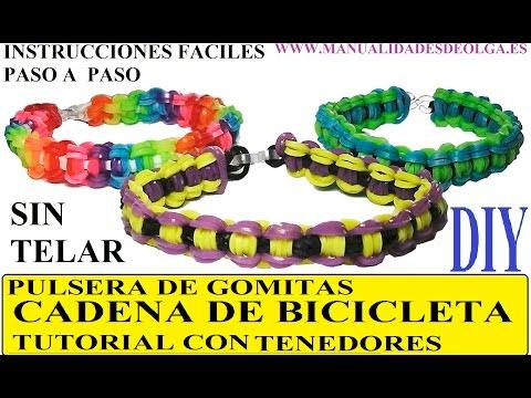 COMO HACER LA PULSERA CADENA DE BICICLETA DE GOMITAS CON DOS TENEDORES, SIN TELAR RAINBOW LOOM