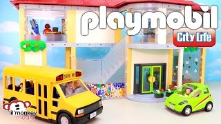 Playmobil City Life! Large Furnished School, School Bus and City Car!