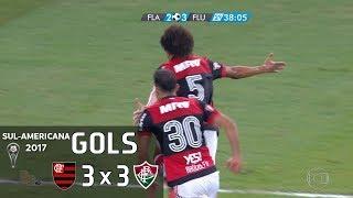 Gols - Flamengo 3 x 3 Fluminense - Sul-Americana 2017 - Globo HD