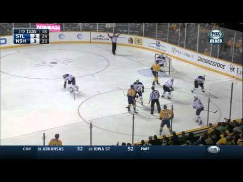 Martin Brodeur glove save Taylor Beck St. Louis Blues vs Nashville Predators Dec 4 2014 NHL