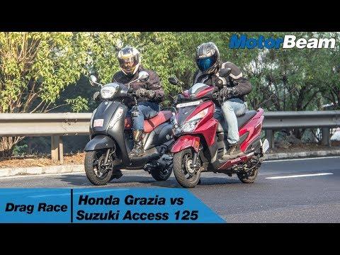 Honda Grazia vs Suzuki Access 125 - Drag Race | MotorBeam