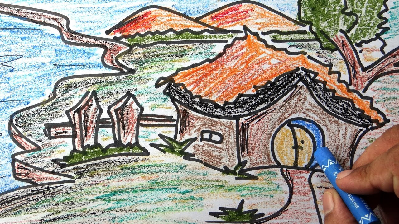 Colourful Scenery For Kids With Wax Colour Pencil Drawing