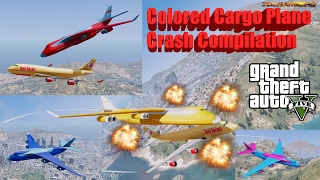 GTA V: Cargo Plane in Different Beautiful Colors / Colored Crash Compilation