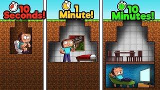 Minecraft - NOOB vs PRO vs HACKER - BUNKER! (10 Sec vs 1 Min vs 10 Min)