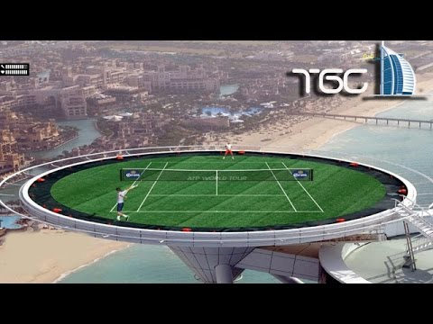 Tennis Elbow 2014 on Top Burj Al Arab in Dubai gameplay - Roger Federer - Rafael Nadal