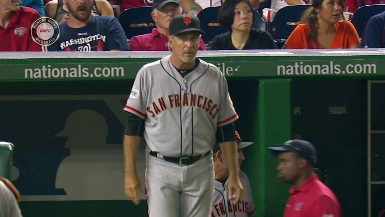 SF@WSH: Bench coach Wotus signals for wrong reliever