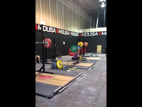 Suz 75kg snatch at Muscle Driver USA