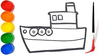 Coloring Toy Ship Drawing for children | how to draw a ship for kids | Learn Colors | Easy Drawing