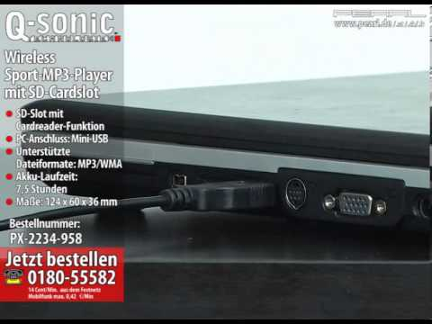 Q-Sonic Wireless Sport-MP3-Player mit SD-Cardslot