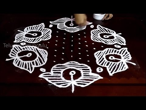 Rose  Flowers kolam designs with15 - 8 middle | chukkala muggulu with dots| rangoli design