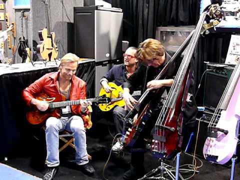 Bunny Brunel jamming with Andreas Oberg at La Bella, NAMM 2010